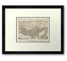 Vintage Pictorial Map of Portsmouth NH (1877) Framed Print