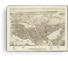 Vintage Pictorial Map of Portsmouth NH (1877) Canvas Print