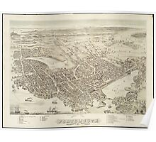 Vintage Pictorial Map of Portsmouth NH (1877) Poster