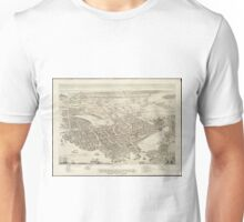 Vintage Pictorial Map of Portsmouth NH (1877) Unisex T-Shirt