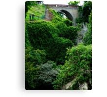 Bridge over cascading leaves Canvas Print