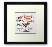 Cosmopolitan Cocktail Illustration with Recipe Framed Print