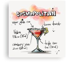 Cosmopolitan Cocktail Illustration with Recipe Canvas Print