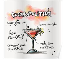 Cosmopolitan Cocktail Illustration with Recipe Poster