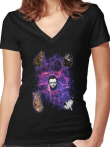 Cats in space, Abraham Lincoln: These hoes aint loyal Women's Fitted V-Neck T-Shirt