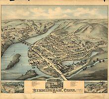 Vintage Pictorial Map of Birmingham CT (1876) by BravuraMedia