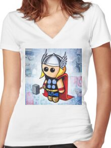 """""""GOD of THUNDER"""" POOTERBELLY Women's Fitted V-Neck T-Shirt"""