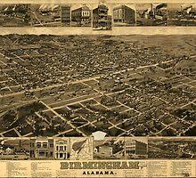 Vintage Pictorial Map of Birmingham (1885) by BravuraMedia