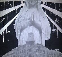 Untitled- Virgin Mary gas mask piece by asvone