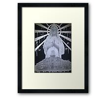 Untitled- Virgin Mary gas mask piece Framed Print