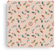 Floral ornament with berry branch and drops Canvas Print