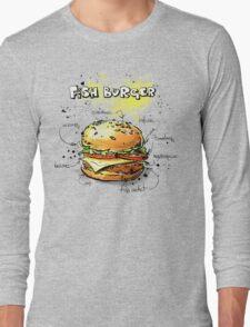 Fish Burger Watercolored Illustration Long Sleeve T-Shirt