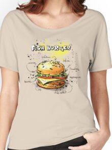 Fish Burger Watercolored Illustration Women's Relaxed Fit T-Shirt