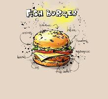 Fish Burger Watercolored Illustration Unisex T-Shirt