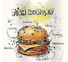 Fish Burger Watercolored Illustration Poster