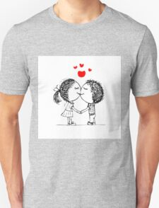 Couple in love together, valentine sketch for your design Unisex T-Shirt