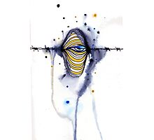 Barbed wire eye Photographic Print