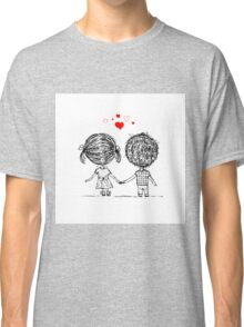 Couple in love together, valentine sketch for your design Classic T-Shirt