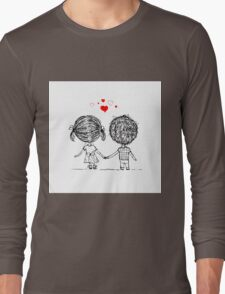 Couple in love together, valentine sketch for your design Long Sleeve T-Shirt
