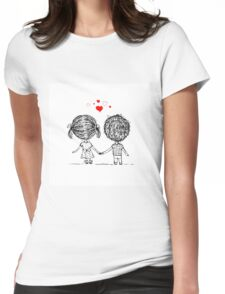 Couple in love together, valentine sketch for your design Womens Fitted T-Shirt
