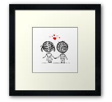Couple in love together, valentine sketch for your design Framed Print