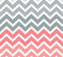 Salmon Peach Fade Chevron Pattern by RexLambo