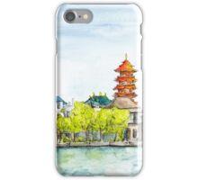 Bangkok river view watercolors and ink iPhone Case/Skin