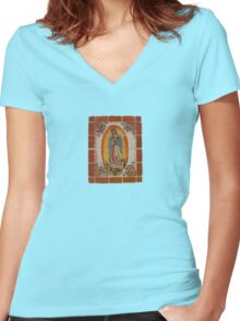 Lady of Guadalupe Women's Fitted V-Neck T-Shirt