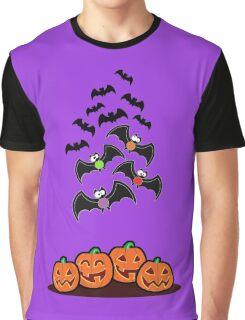 Pumpkins and Bats Graphic T-Shirt
