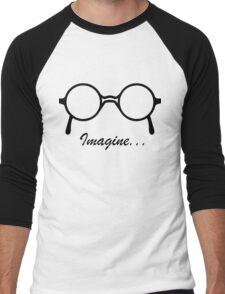 Imagine John Lennon Song Lyrics Quotes The Beatles Rock Music Men's Baseball ¾ T-Shirt