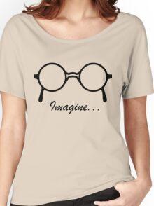 Imagine John Lennon Song Lyrics Quotes The Beatles Rock Music Women's Relaxed Fit T-Shirt