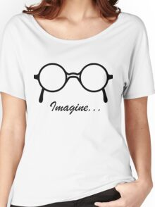 Imagine John Lennon Song Lyrics Quotes The Beatles Rock Music Women's Relaxed Fit T-Shirt