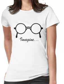 Imagine John Lennon Song Lyrics Quotes The Beatles Rock Music Womens Fitted T-Shirt