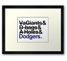 Los Angeles Dodgers Rivalry Teams Framed Print