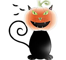 Cat pumpkin Halloween Photographic Print