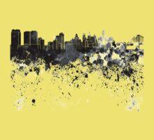 Philadelphia skyline in black watercolor One Piece - Short Sleeve
