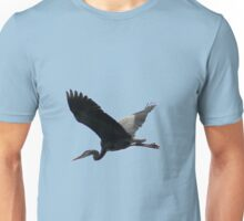 Great Blue Heron Flying Past the Clouds Above Trojan Pond Unisex T-Shirt