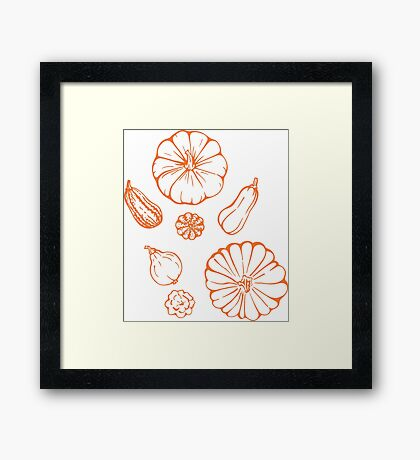 Pumpkin  pattern. Framed Print