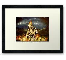 Smoking monocled cat with a top hat riding a flaming unicorn Framed Print