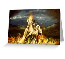 Smoking monocled cat with a top hat riding a flaming unicorn Greeting Card