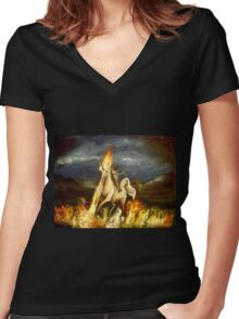 Smoking monocled cat with a top hat riding a flaming unicorn Women's Fitted V-Neck T-Shirt