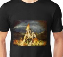 Smoking monocled cat with a top hat riding a flaming unicorn Unisex T-Shirt