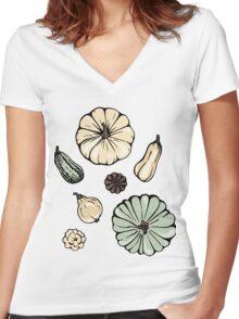 Pumpkin pattern. Women's Fitted V-Neck T-Shirt
