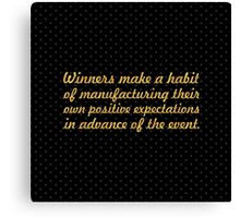 """Winners make a habit... """"Brian Tracy"""" Inspirational Quote (Square) Canvas Print"""