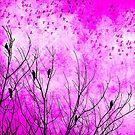 Hot Pink Bird Scarf by debsrockine