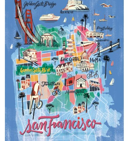 San Francisco illustrated Map Sticker
