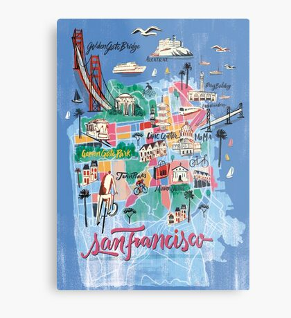 San Francisco illustrated Map Metal Print