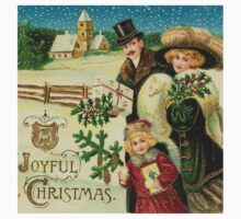 Vintage,victorian,christmas,A joyful christmas,x-mas,rustic,original christmas card,vintage,rustic,family coming with gifts,landscape,typography One Piece - Short Sleeve