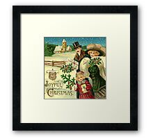 Vintage,victorian,christmas,A joyful christmas,x-mas,rustic,original christmas card,vintage,rustic,family coming with gifts,landscape,typography Framed Print