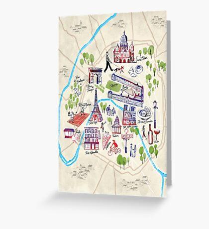 Paris illustrated Map Greeting Card